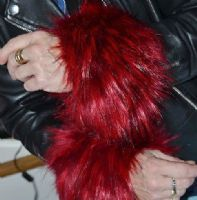 Fur Wrist Cuffs in Red Faux Fur with Black Tips